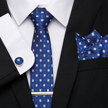 Men`s Tie 100% Silk Blue Plaid Print Jacquard Woven Tie Clip + Hanky + Cufflinks + Tie Sets For Formal Wedding Business Party недорого