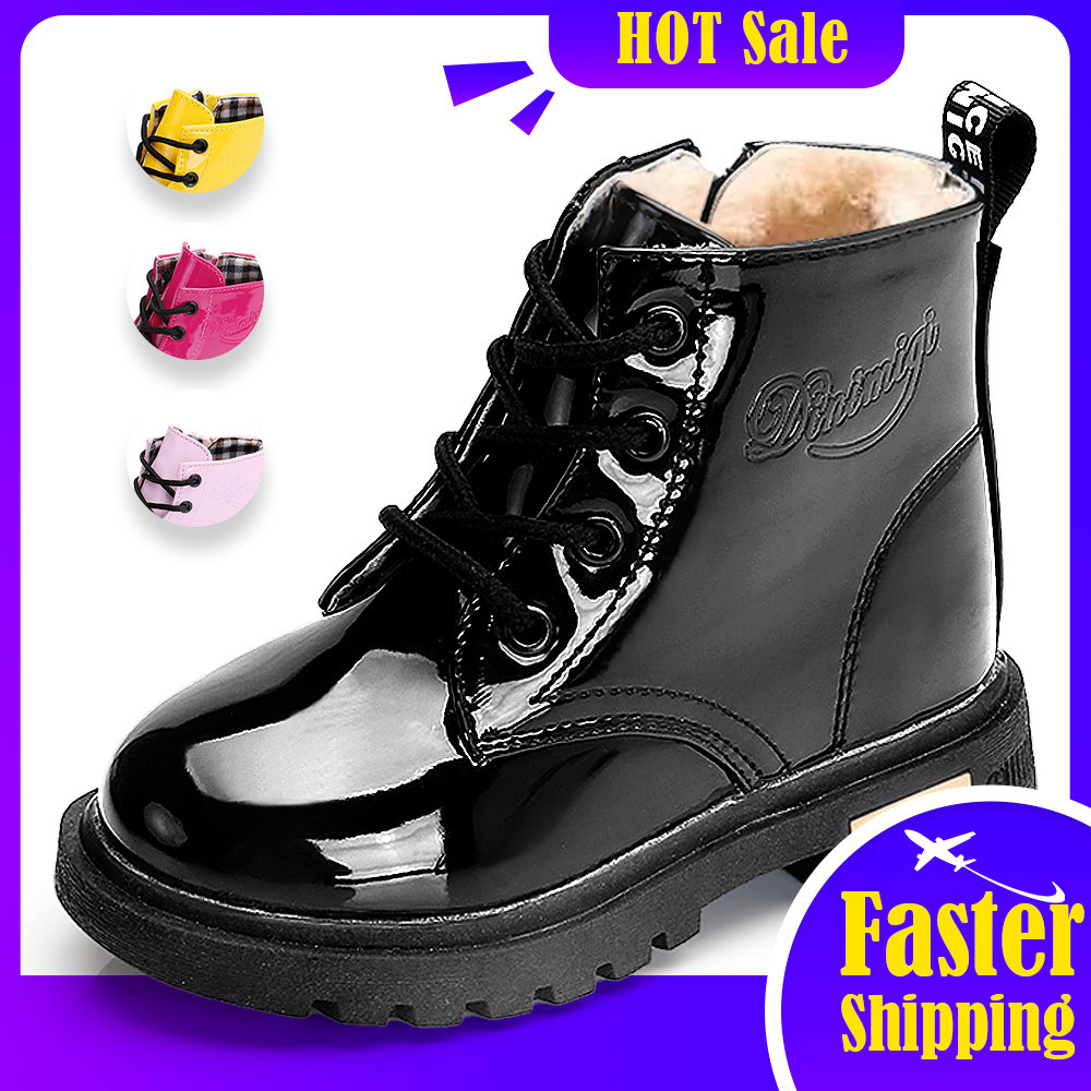 New Boots for Children Size 21 35 Martin Boots for Girl PU Leather Waterproof Winter Kids Snow Shoes Girls Rubber Boots