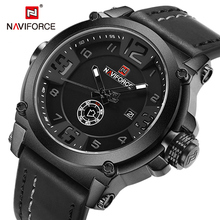 NAVIFORCE Men Watches Military Sport Quartz Watch Leather band Waterproof Clock Male Luxury Fashion Wristwatch Relogio Masculino naviforce brand men watch fashion casual sport watches men waterproof leather quartz watch man military clock relogio masculino