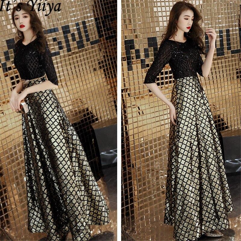 It's YiiYa Evening Dresses 2019 Half Sleeve Sequines O-neck Formal Dress Long Women Party Dresses Robe De Soiree Plus Size E469