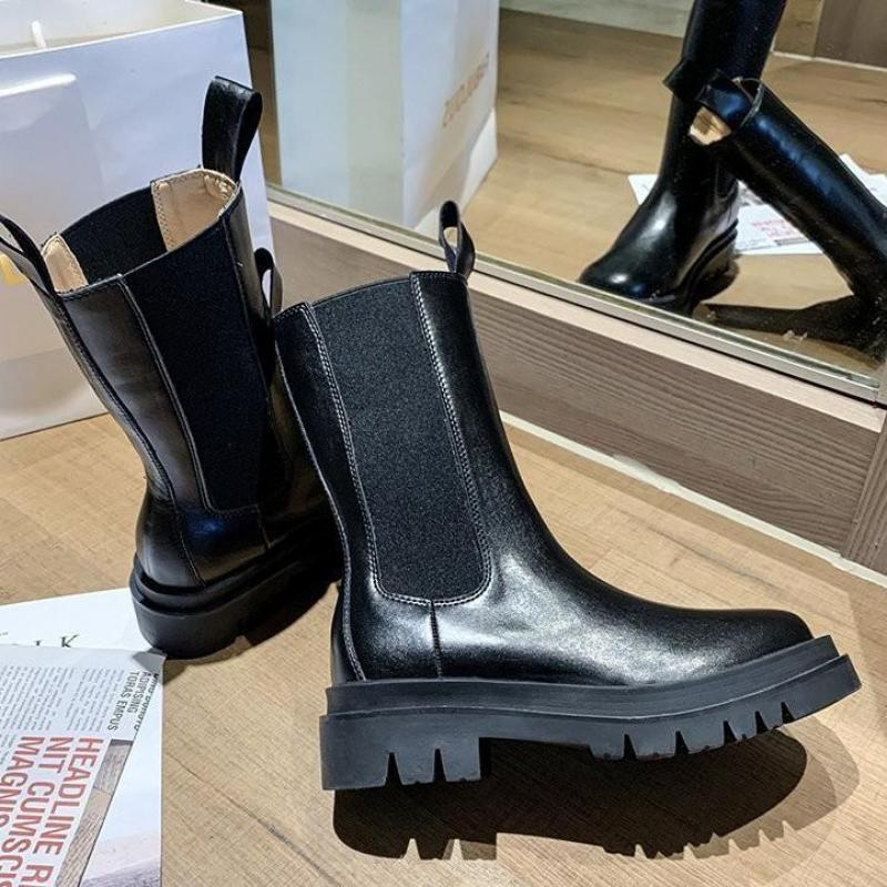 2020 Luxury Chelsea Boots Women Boots Chunky Winter Shoes Platform Boots Slip On Chunky Heel Thick Brand Designer