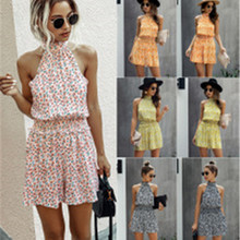 Playsuits Short Romper Lace-Up Hanging-Neck Off-Shoulder Sexy Summer Women Chiffon Bohemian