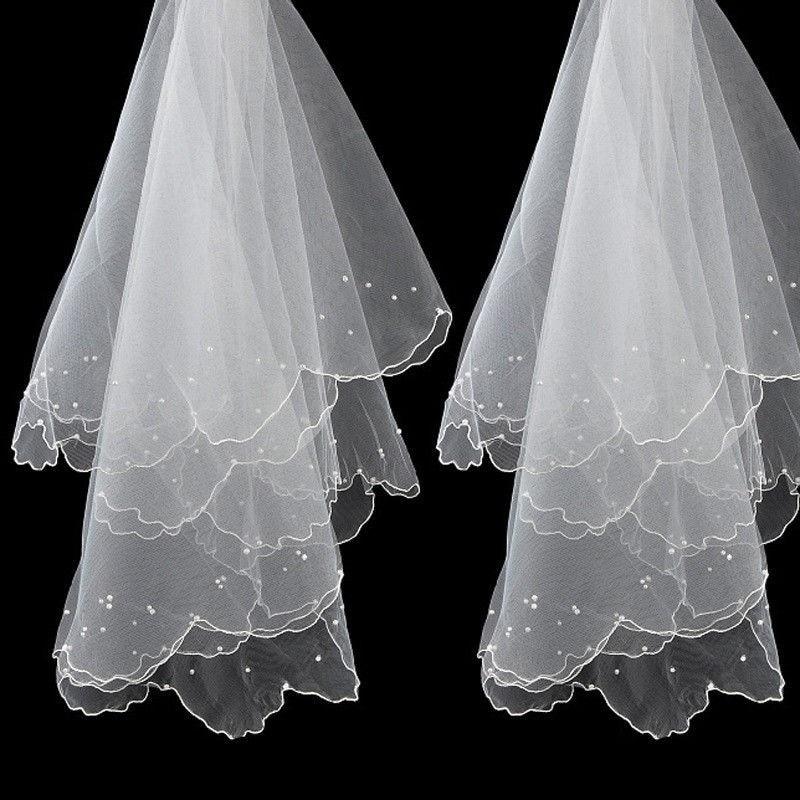 Фата свадебная короткая Однослойная, простая и элегантная Тюлевая, для невесты, свадебный аксессуар