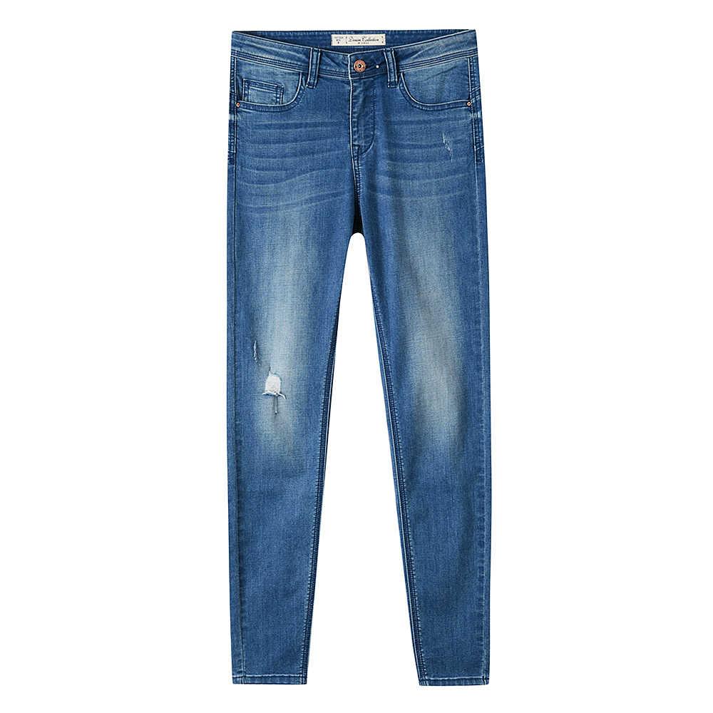 Metersbonwe جينز ضيق للنساء الجينز ثقب تصميم امرأة الأزرق الدينيم سروال شكل قلم رصاص عالية الجودة تمتد الخصر النساء الجينز