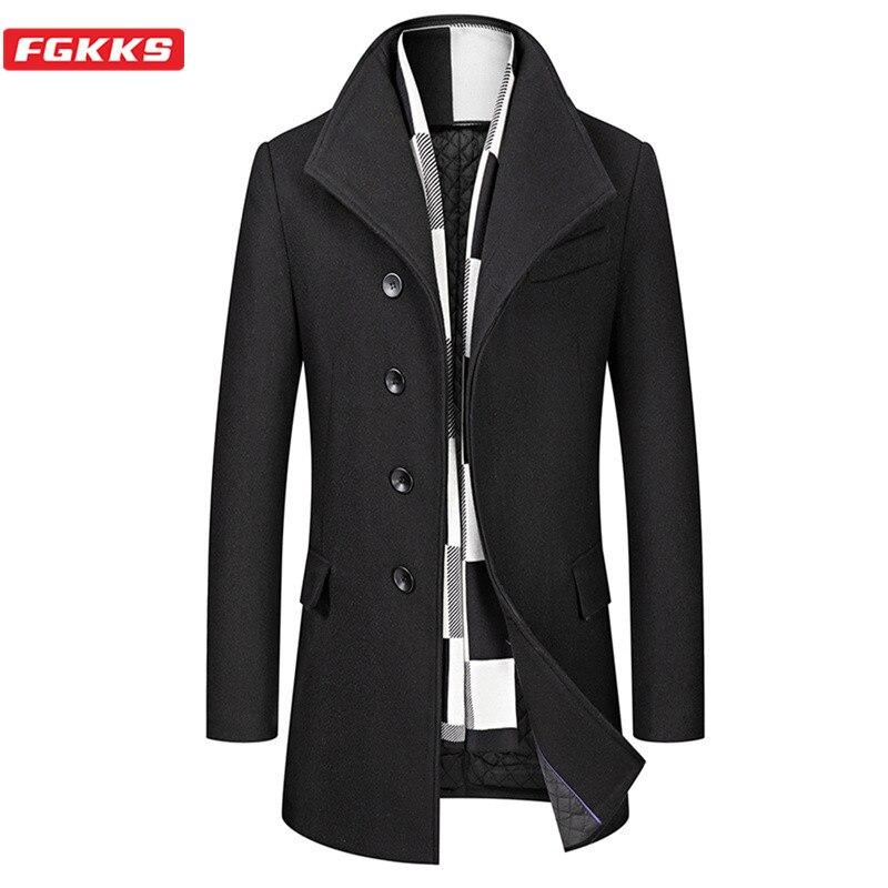 FGKKS Winter Wool Blend Coat Men Quality Brand Men's Casual Wild Wool Overcoat Male Trend Solid Color Wool Coat (Send Scarf