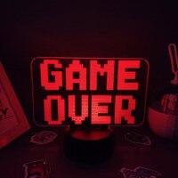 ゲームオーバーネオンランプ3D led rgbイリュージョンusbナイトライトの誕生日のためのクールなギフト友人ベッドゲームルームのテーブルカラフルな装飾