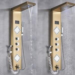 Image 5 - Uythner torneira luxuosa de banheiro, torneira de chuveiro de ouro/preta com led painel de temperatura tela de tela