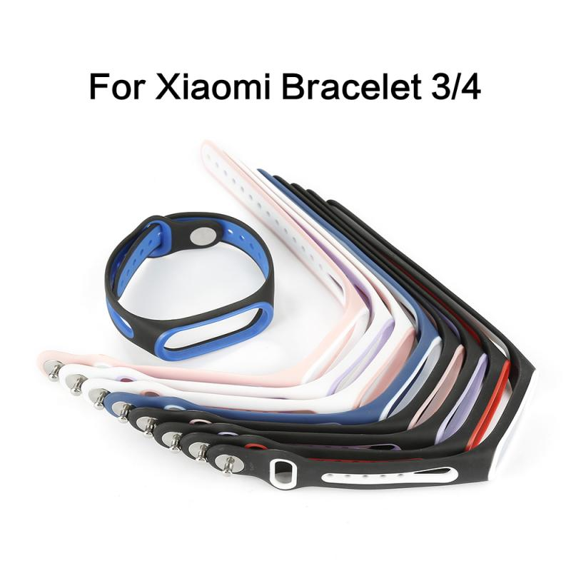 New Silicone Steel Buckle Strap For Xiaomi Mi Band 3 4 Bracelet TPU Smart Watch Replacement Colorful Strap Anti-lost Wristband