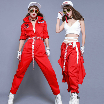 Jazz Dance Costumes Adult Red Long Sleeve Tooling Jumpsuit Hip Hop Clothing Street Dancewear Women Dj Rave Stage Outfit DT1059