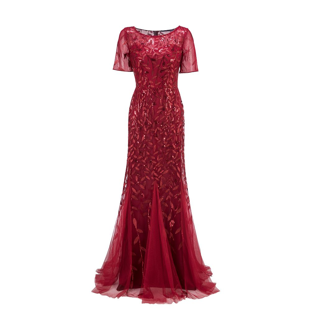 2019 New Evening Dresses Mermaid O Neck Short Sleeve Lace Appliques Tulle Long Party Gowns Robe Soiree Sexy Formal Dresses