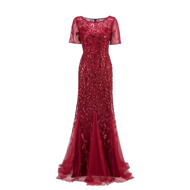 Plus Size Evening Dresses Mermaid O Neck Short Sleeve Lace Appliques Tulle Long Party Gown Robe Soiree Sexy Formal Dress vestido 5
