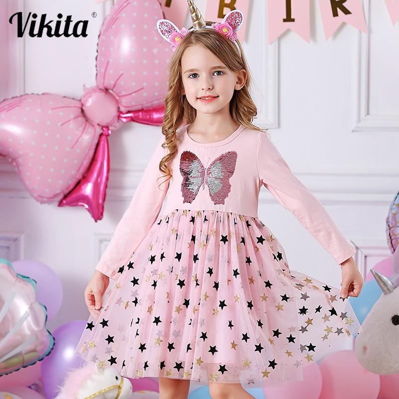 VIKITA Autumn Girls Dress Butterfly Sequins Kids Long Sleeve Dresses Baby Girls Princess Dress Party Clothes Birthday Dresses