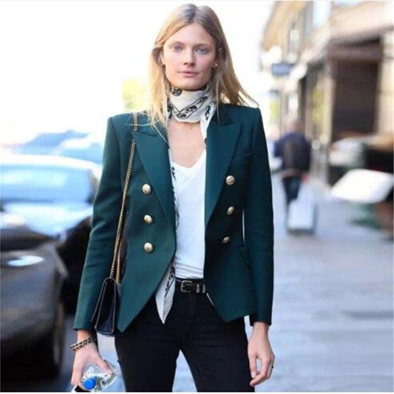 TOP QUALITY Newest 2018 Baroque Designer Blazer Women's Metal Lion Buttons Double Breasted Blazer Jacket Size S-XXL Dark Green