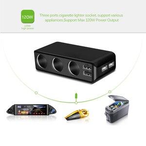 Image 3 - Chargeur de voiture 4 ports USB 6.8A chargeur USB voltmètre avec 3 voies voiture allume cigare prise répartiteur 120W adaptateur secteur chargeur