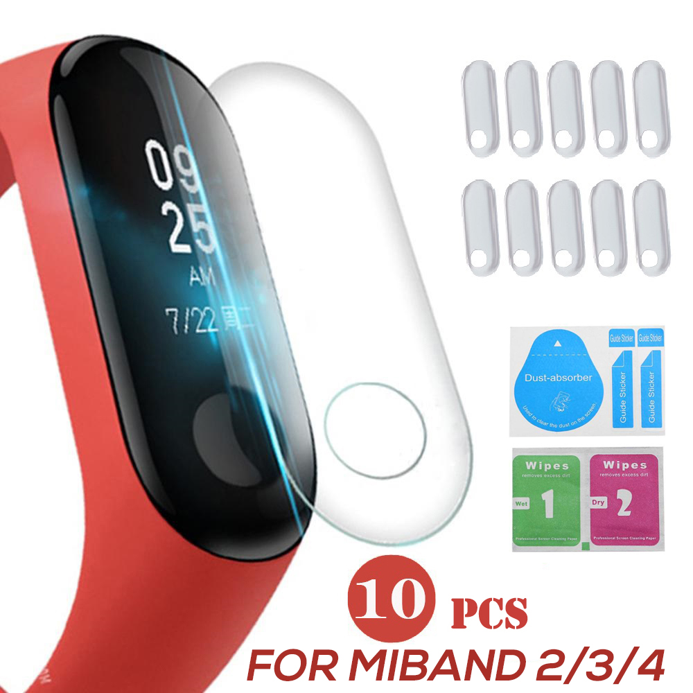 10Pcs Screen Protector Film For Xiaomi MiBand 4 Mi Band3 Smart Wristband Bracelet Full Cover Protective Films Not Tempered Glass