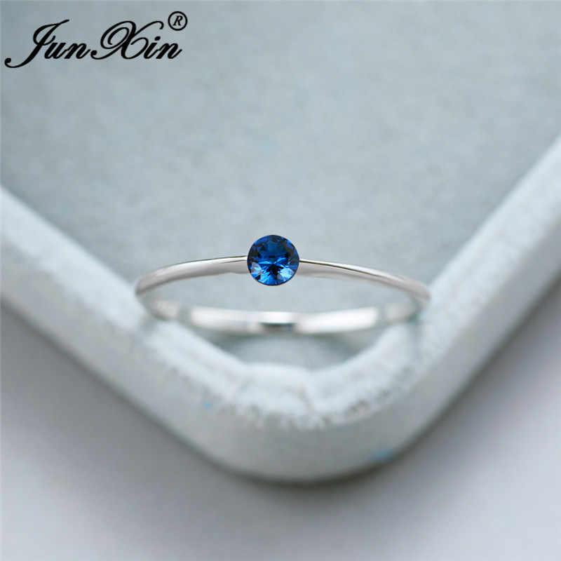 Anillo fino de piedra Simple Real 925 anillos de plata de ley para mujeres anillo de dedo de boda minimalista azul negro Cz joyería
