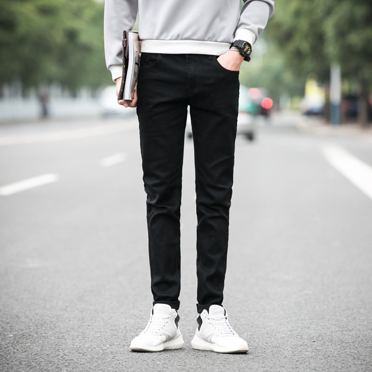 2019 Spring New Style Season New Style Solid Black Jeans Versatile Base-Straight Slim Men's Trousers Skinny Trousers