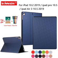 цена на For Apple ipad 10.2 case 2019 original PU leather Stand tablet TPU Cover for ipad air 3 / Air 10.5 2019 /ipad pro 10.5 +Film+Pen