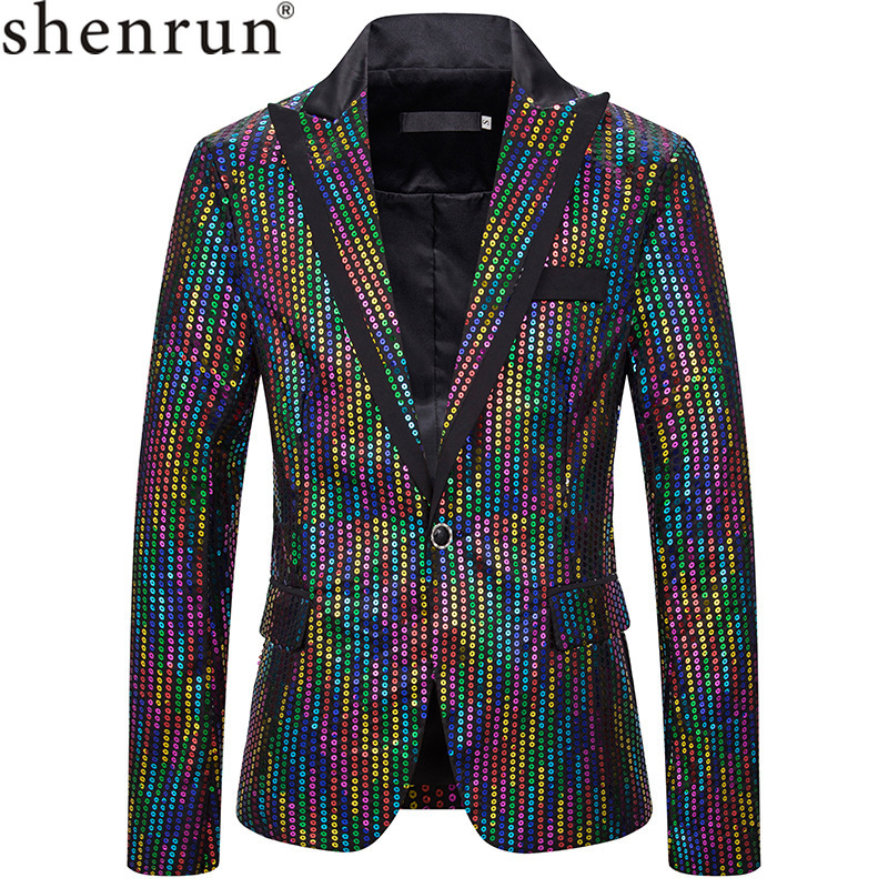 Shenrun Men's Sequin Blazers New Fashion Jackets Slim Fit Suit Jacket Singer Host Stage Dress Costumes Night Club Casual Blazer