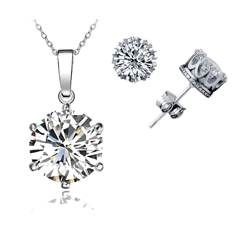 Best Wedding Jewelry Sets Genuine 925 Sterling Silver Stone Pendant Necklaces Stud Earring Engagement Set