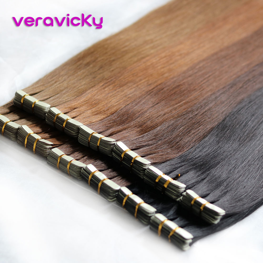 Human-Hair-Extensions Adhesive Tape-In Real-Hair Veravicky-16to20inch Natural Invisible