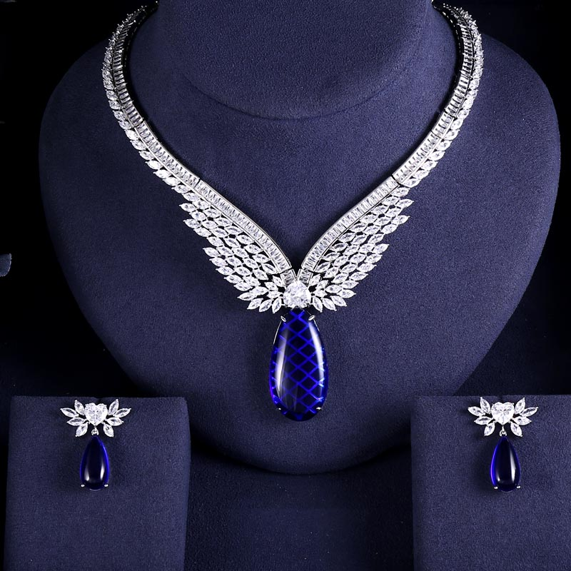 Earrings Jewelry-Sets Wedding-Necklace Women-Accessories Bridal Janeklly Cubic-Zirconia