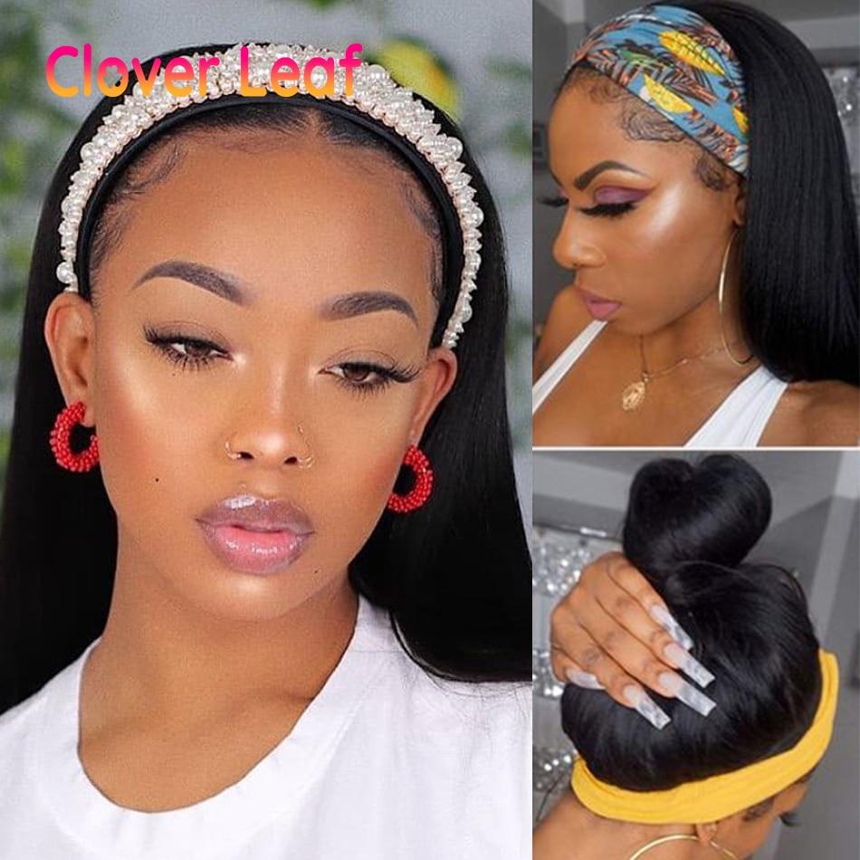 Clover Leaf Headband Wigs Straight Human Hair Wigs With Headband Scarf 150% Peruvain Remy Machine Made Head Band Wigs Human Hair