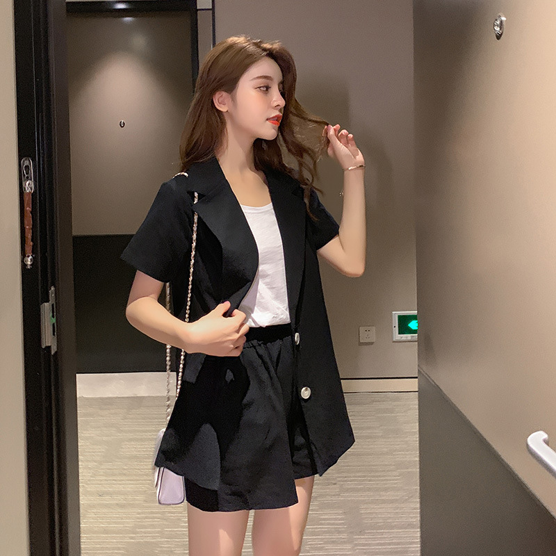 Small Suit Set Summer 2019 Casual Short Sleeve T-shirt + Coat Wide-Leg Shorts Women's F7400