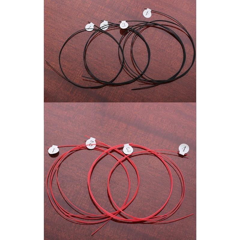 8Pcs Longteam Ukulele Carbon Strings Fluorocarbon Fiber Strings For 21/ 23/ 26 Inches Of Guitar Ukulele Part Black & Red