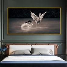 Arte abstrata pinturas modernas menina orando cisne para sala de estar retro arte da parede quadros decorativos quadros em tela cartazes
