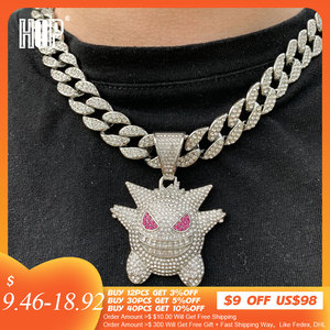 Hip Hop Iced Out Gengar Bling Ghost Alloy Gold Silver Color Pendant & Necklace For Men Women Jewelry With Chains