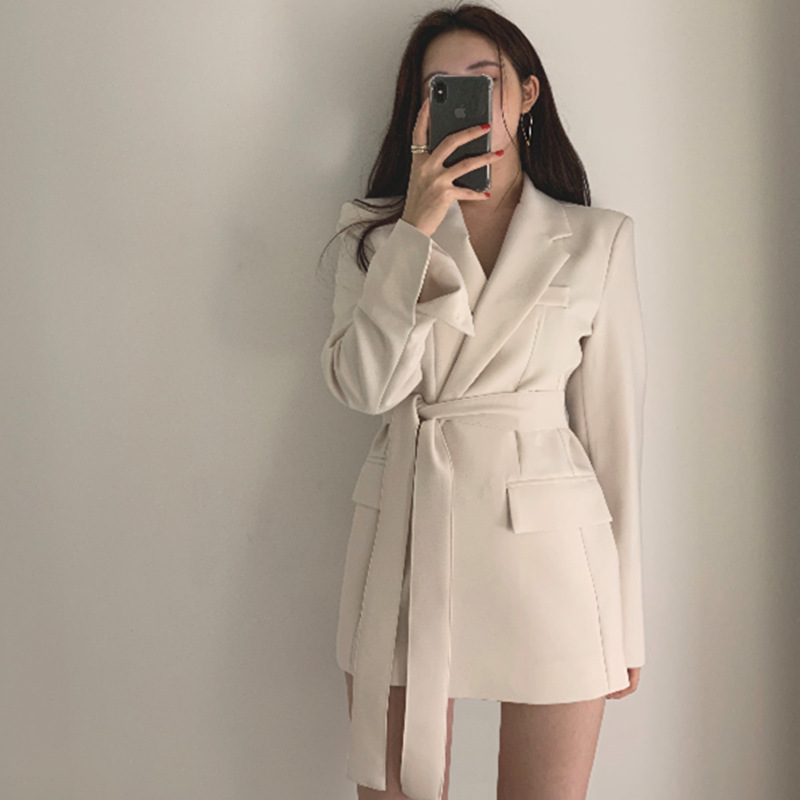 Black Beige Blazer Dress Women High Waist with Belt 2020 Autumn Slim Fit Work Bussiness Office Ladies Long Sleeve Outwear