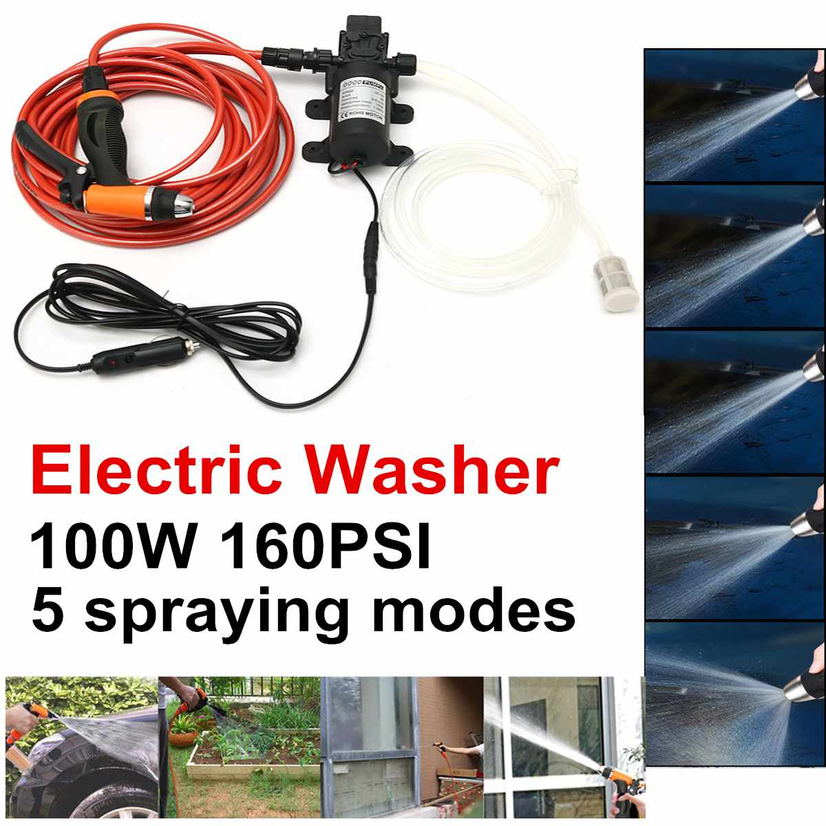 12V Portable 100W 160PSI High Pressure Car Electric Washer Auto Wash Pump Set100W Car Washer 12V Machine Pump High Pressure Clea