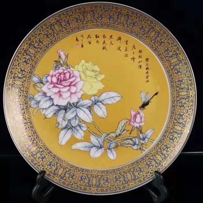 Jingdezhen Ceramics Luxury Decorative Plate Hanging Plate Pastel Sat Modern Home Decoration Crafts