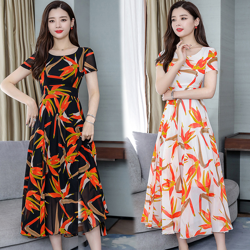 2019 Summer Wear New Style Korean-style Elegant Popular WOMEN'S Dress-Style Slim Fit Slimming Short Sleeve Chiffon Dress