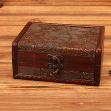 Vintage ornament box wooden European jewelry vintage props storage and crafts