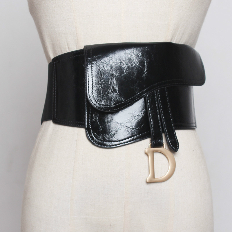 Elastico Cintura Fashion D Buckle Belt Bag Pu Oil Leather Belt Bag Decorative Waist Seal Ladies Elastic Stretch Belts Black