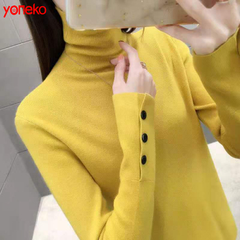 Yoneko 2020 new arrival long sleeve thick pullover turtleneck winter sweater women Slim Tight Knitted Shirt yellow black sweater sweater women autumn and cardigan women winter v neck knitted long sleeved slim fitting tight warm shirt pullover turtleneck