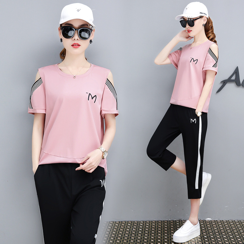Short Sleeve Sports WOMEN'S Suit 2019 Summer New Style Korean-style WOMEN'S Wear Loose Fashion Capri Pants Casual Two-Piece Set
