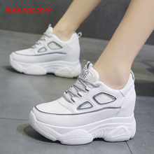 2019 New Wedge Sneakers Women Shoes High Heel Platform White Beige Reflective Casual Female chaussures femme