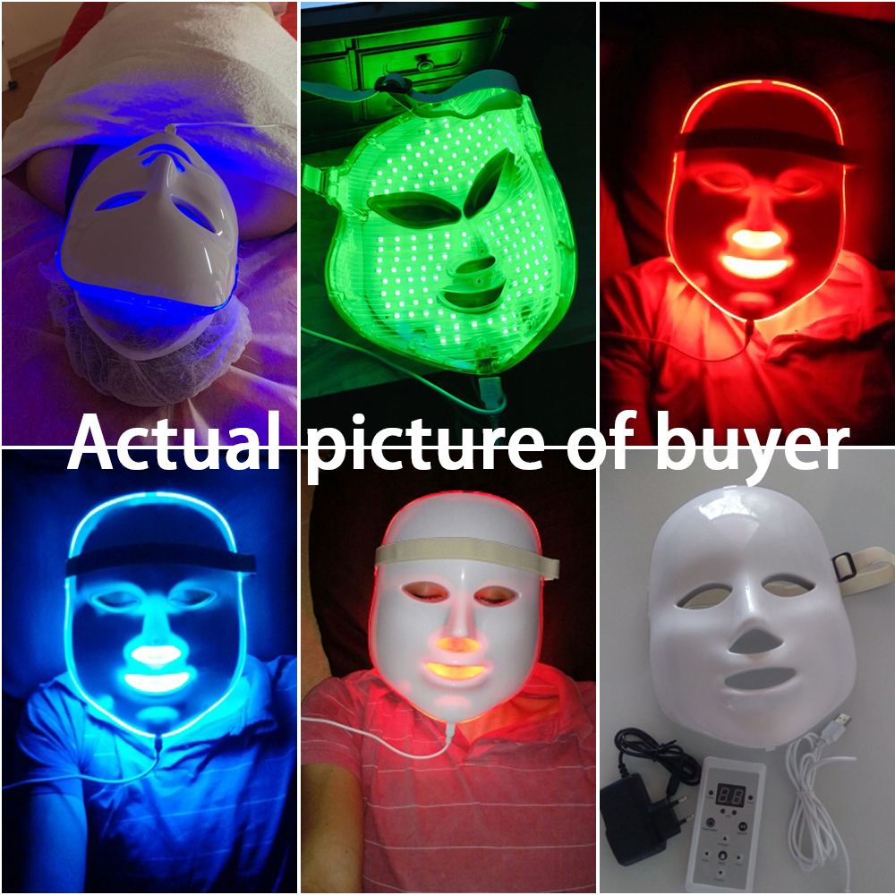 Image 5 - LED Facial Mask Therapy 7 Colors Face Mask Machine Photon Therapy Light Skin Care Wrinkle Acne Removal Face Beauty for Home use-in Face Skin Care Tools from Beauty & Health