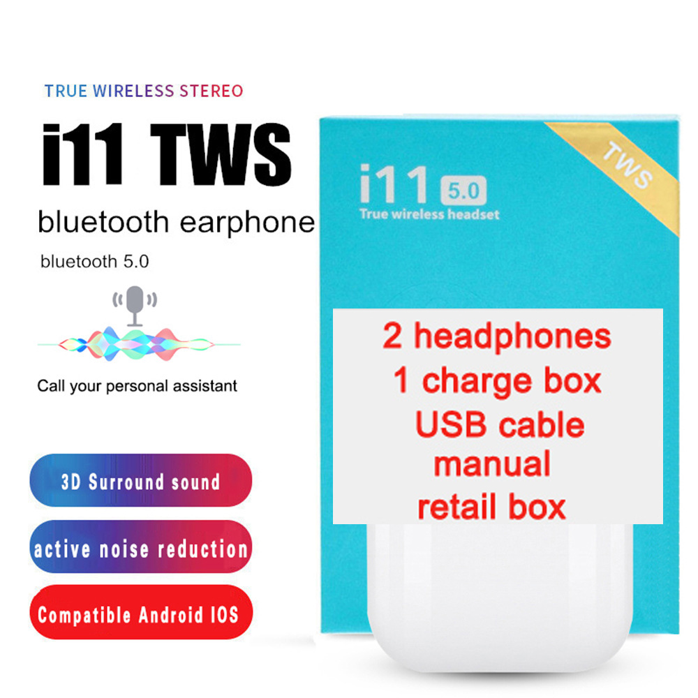Touch control TWS i11 Mini 5.0 Wireless Bluetooth Earphones portable mini Earbuds Headphones with Charging box