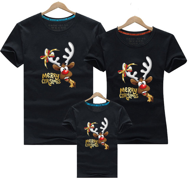 Christmas Family Look T-Shirt Outfits Family Clothes Deer New Year Matching Outfits Father Mother Son Daughter Mom Me Clothes