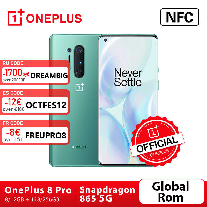 "Rom Global Oneplus 8 Pro 5G Smartphone Snapdragon 865 8G 128G 6,87 ""120Hz líquido pantalla 48MP Quad 513PPI 30W de carga inalámbrica"