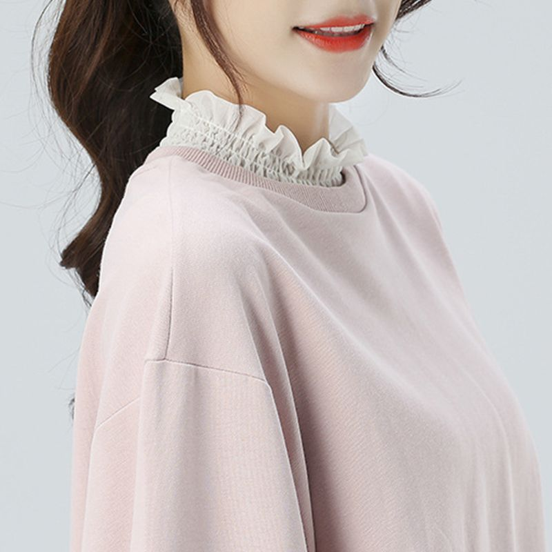 Women Ruffles Elastic High Neck False Fake Collar Pullover Vest Style Half-Shirt