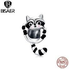 Bisaer маленького енота бусины 925 стерлингового серебра в черно-белую полоску, носки с милыми животными: Подвески подходят к оригинальному бра...