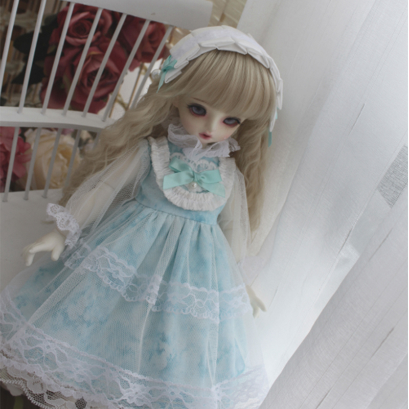 <font><b>BJD</b></font> doll dress green lace dress + hair band 2 pieces for 1/6 1/4 <font><b>1/3</b></font> <font><b>BJD</b></font> <font><b>clothes</b></font> blyth dress doll accessories doll dress image