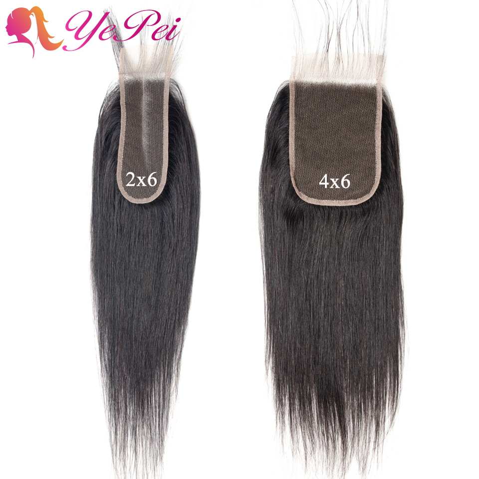 2x6 4X6 Lace Closure Straight Human Hair Closure Pre Plucked With Baby Hair Swiss Lace Peruvian Remy Hair 8- 22 Inch Yepei Hair