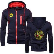 2020 primavera outono homens cobra kai logotipo novo homem com zíper jaqueta sweatshirts estilo de cor sólida aptidão esportiva marca hoodies casaco