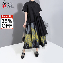 New 2021 Painted Style Women Summer Designer Vintage Black Long Shirt Dress Retro Print Mesh Overlay Lady Casual Dress Robe 6138